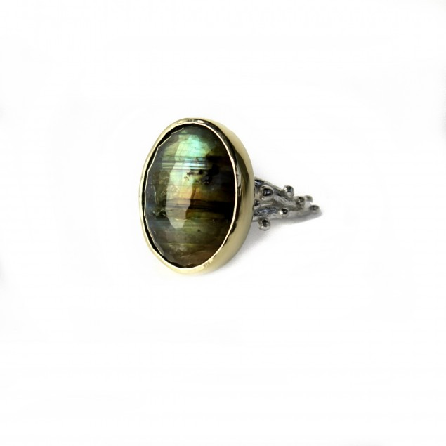 Ring with labradorite in a golden setting, gemstone ring, gemstone jewelry