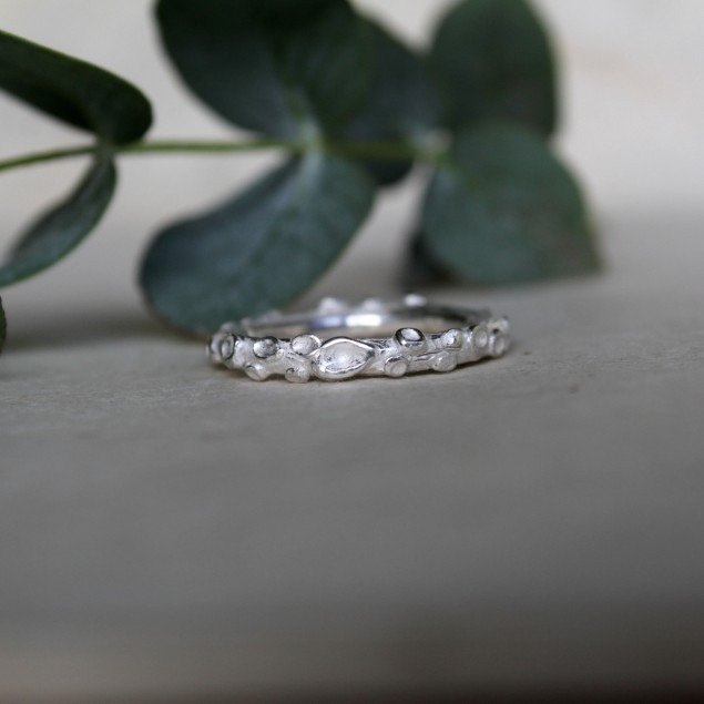 Handmade organic formed ring made of silver