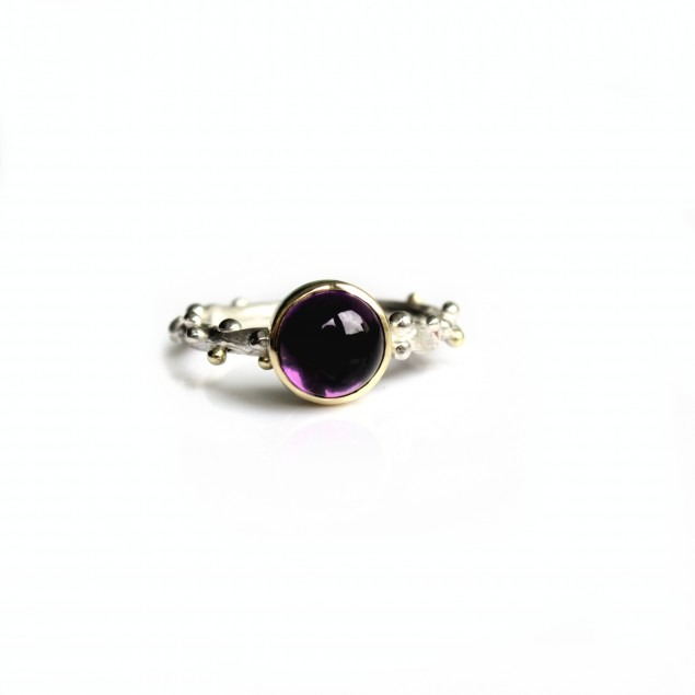 Ring with purple stone handmade unique piece