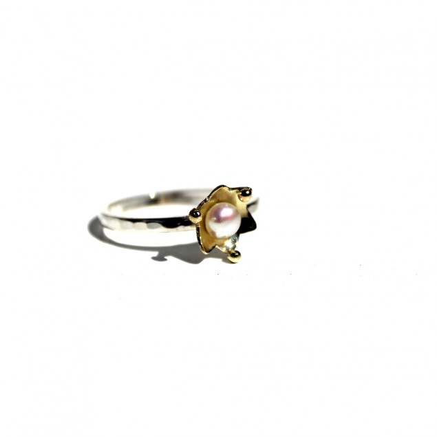 ring met gouden regendruppel, ring with golden drop