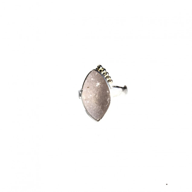 Silver ring with druzy crystal